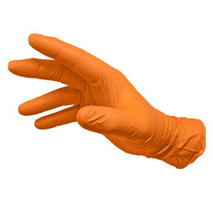 Orange Textured Nitrile Gloves